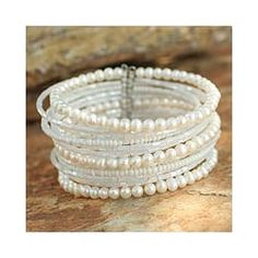 Shop for Tantalizing Rows of Crystal Beads and White Pearls on Stainless Steel Wire Adjustable Womens Fashion Cuff Bracelet (Thailand). Free Shipping on orders over $45 at Overstock.com - Your Online World Jewelry Outlet Store! Get 5% in rewards with Club O!