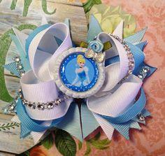 Cinderella Hair Bow/Princess Cinderella Girls Hair Bow/Disney Inspired Bow/Girly Curl Bow/Boutique Style Hair Bow/Cinderella Girls Bow by GirlyCurlBowtique on Etsy