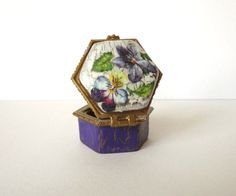 Box small porcelain decoupage floral retroviolets by decorartarina, $10.00