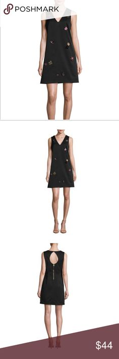 "Nicole Miller 3D floral appliqué dress NWT Nicole Miller 3D floral appliqué dress. New with tags. Cutout back detail. Exposed back zip. Approximately 36"" from shoulder to hem. Nicole Miller Dresses"