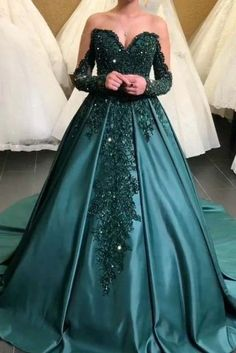 Long Sleeve Formal Evening Dresses, Appliques Women Plus Size Prom Dresses H3942 by Fashiondressy, $180.00 USD Velvet Bridesmaid Dresses, Green Wedding Dresses, Beautiful Gown Designs, Beautiful Gowns, Mermaid Prom Dresses Lace, Lace Dress, Ball Dresses, Evening Dresses, Celebrity Gowns