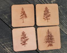 Unique rustic leather coaster set by Willow Creek Leather Co on Etsy