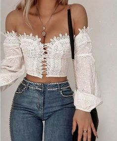 Off the shoulder peasant puffy sleeves lace up Broderie top summer fashion summer outfit summer style trend fashion street style white crop top Mode Outfits, Fashion Outfits, Womens Fashion, Fashion Trends, Fashion Ideas, Fashion Shoot, Fashion Tips, Look Fashion, Fashion Beauty