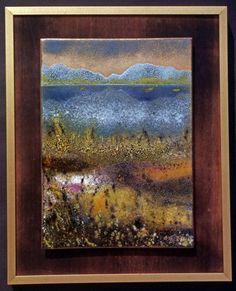 """""""Alpsee"""", Nassemail- Streuemailtechnik, Schablonen,  ca 20 x25 cm Naheres zu dieser Technik finden Sie auf: www.emailkunst.de"""