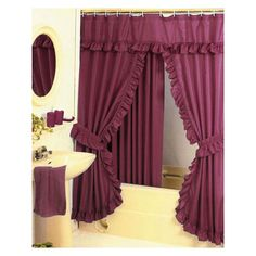 Shower Curtain Set BURGUNDY Fabric Double Swag Curtains Vinyl Liner