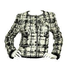 CHANEL Black & White Sequin Fantasy Tweed Jacket w. 3 Pins c.2006 Sz. 38 | 1stdibs.com