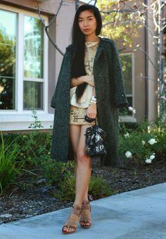 Petite fashion bloggers :: Honey & Silk :: Green coat
