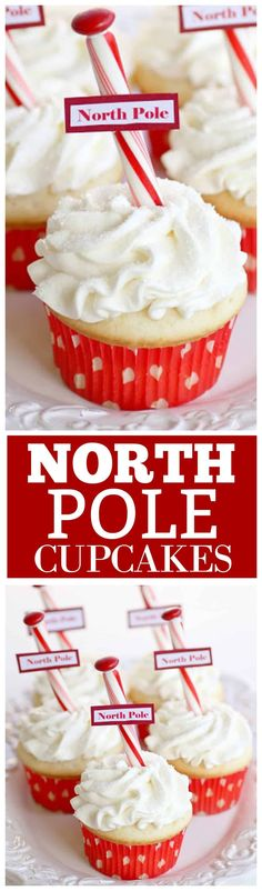 North Pole Cupcakes - simple and easy Christmas cupcakes that are so festive!