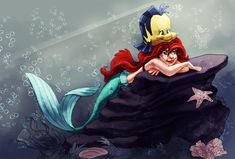 Coloring book page - Ariel and flounder by naima.deviantart.com