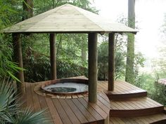 Natural Cedar Hot Tub with Gazebo Hot Tub Pergola, Patio Pergola, Casa Patio, Backyard Landscaping, Pergola Kits, Pergola Ideas, Whirlpool Pergola, Outdoor Shower Enclosure, Tubs For Sale