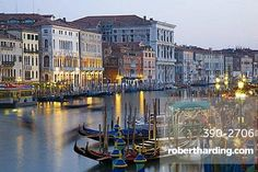 View from the Ponte di Rialto along the Grand Canal at dusk, San Polo district, Venice, UNESCO World Heritage Site, Veneto, Italy, Europe
