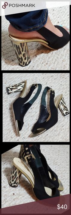 """Kate Spade Heels Gently Used K. Spade Sling Backs True to size 9 Some wear on heel bed, and toe beds,  and of course bottoms. Actual Heels are in perfect condition. Approximately 3.5"""" in height  Gold hardware   No Trades  Bundle and save kate spade Shoes Heels"""