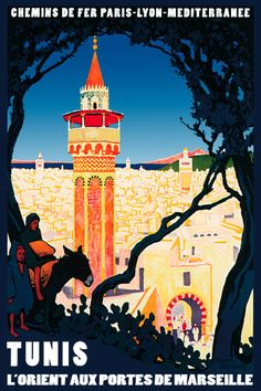 Shop Vintage Tunis Tunisia Travel Poster Art Postcard created by postcardshoppe. Personalize it with photos & text or purchase as is! Tunisia Travel, French Vintage, Vintage Art, Decor Vintage, Old Poster, Tourism Poster, Railway Posters, Poster Prints, Art Prints