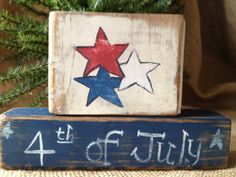Primitive Red White & Blue Stars 4th of July by DoughAndSplinters ooak, $10.99