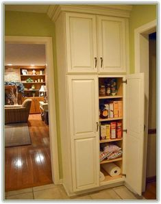 White Wooden Tall Narrow Pantry Cabinet With 4 Maple Wood Shelves And Wooden Door Panel, Astounding Free Standing Corner Pantry Cabinet Design: Furniture, Kitchen Pantry Cabinet Free Standing, Corner Pantry Cabinet, Free Standing Kitchen Cabinets, Pantry Storage Cabinet, Kitchen Storage, Kitchen Corner, Storage Cabinets, Wall Pantry, Pantry Doors