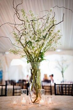 wedding willow centerpieces | pretty curly willow centerpiece - tablescape for round tables - all or just every other one??