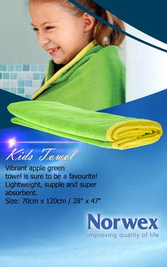 Norwex #Kids Towel (www.norwex.com) Apple Green towel with Sunshine Yellow trim. Lightweight, soft, supple and super absorbent. Dries very quickly. Space saver for camping or gym bag. For drying, a patting motion is recommended when using the microfiber towel. Use for: * Drying hands * Drying Body * Drying Hair * Exfoliating dead skin