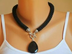 Onyx necklace,black big seed beads crocheted necklace, crocheted necklace, gift necklace, onyx natural stone necklace: jewelry making Rope Jewelry, Seed Bead Jewelry, Jewelry Crafts, Seed Beads, Beaded Jewelry, Jewelery, Jewelry Necklaces, Onyx Necklace, Black Necklace