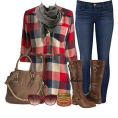 Another cute everyday wear type outfit. Love the riding boots.I am a huge fan of them! And the plaid tunic is something I wouldn't normally wear but when paired with this outfit and accessories, I find it to be very cute' Tween Fashion, Only Fashion, Fashion Outfits, Women's Fashion, Fashion Clothes, Stylish Eve, Kids Outfits, Casual Outfits, Cute Outfits