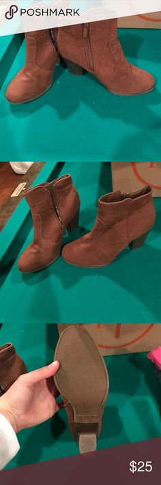Short brown ankle booties Short brown ankle booties. Perfect brown color to go with a lot! Good condition. Worn only 1 time! Super cute and comfy! Breckelles Shoes Ankle Boots & Booties