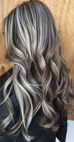 Hairstyles For Round Faces .Hairstyles For Round Faces Hair Highlights And Lowlights, Hair Color Highlights, Brown Hair With Silver Highlights, Grey Hair Transformation, Medium Hair Styles, Long Hair Styles, Long Gray Hair, Hair Color And Cut, Great Hair