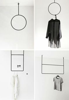 Zelf kledingrek maken DIY geometric clothes rack: DIY: buy something like this in the DIY shop/home depot and hang it on your ceiling, or make it yourself if you're a handy smith. Ideas Decoracion Salon, Hanger Rack, Diy Rack, Make Your Own Clothes, Diy Clothes, Diy Shops, Garment Racks, Diy Garden Decor, Retail Design