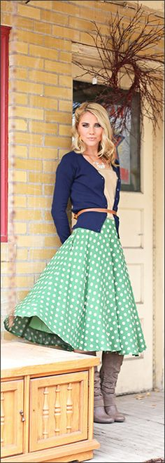 Green Polka dot skirt - $42.99 : Mikarose Fashion, Reinventing Modest Fashion
