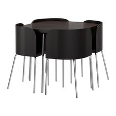 This compact Fusion table for £229 by http://www.ikea.com/gb/en/catalog/products/70176835/ not only looks great, it tucks away into a small-sized piece of furniture that's great for petite sized apartments!