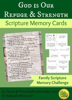 God is Our Refuge and Strength Scripture Memory Cards - http://www.proverbialhomemaker.com/god-is-our-refuge-and-strength-scripture-memory-cards.html