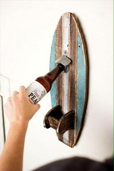 Easy Woodworking Projects Surfboard Wall Bottle Opener – Sea Things Ventura - Surfboard Wall Bottle Opener Rustic Wood Surfboard Wall Bottle Opener on wooden board Approximate Size: x x Wooden Pallet Projects, Wooden Pallet Furniture, Wooden Pallets, Pallet Ideas, Furniture Ideas, House Furniture, Pallet Designs, Furniture Websites, Pallet Wood