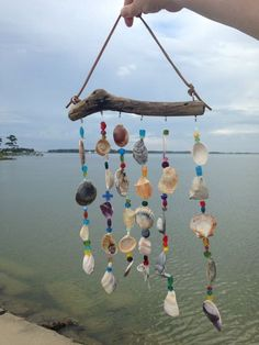 Driftwood Sea Shell Mobile Beaded Beach by somethingfromthesea - Wind Chimes Seashell Wind Chimes, Diy Wind Chimes, Seashell Art, Seashell Crafts, Beach Crafts, Diy And Crafts, Seashell Projects, Driftwood Projects, Driftwood Mobile