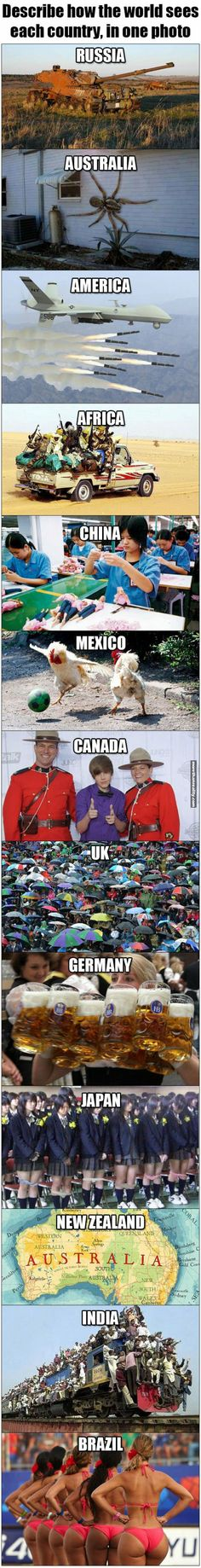 Countries illustrated in one picture
