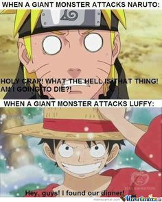 Luffy>naruto by sergen - A Member of the Internet's Largest Humor Community One Piece Meme, One Piece Manga, One Piece Crew, One Piece Funny, One Piece Drawing, One Piece Comic, One Piece Fanart, Tsurezure Children, Funny Naruto Memes