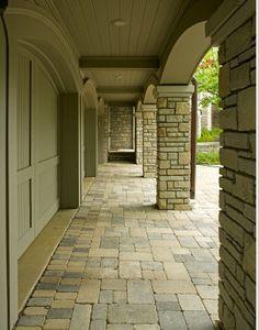 Garage door, arches, stone