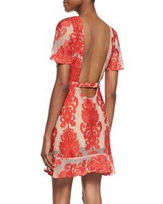 For Love & Lemons San Marcos Short-Sleeve Open-Back Dress
