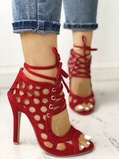 f49335ed566 Sexy Lace Up Hollow-Out High Heels Sandals Casual Wear Women
