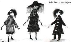 Lydia Deetz sketches by Tim Burton Tim Burton Art, Aubrey Beardsley, Dark And Twisted, Beetlejuice, Gothic Art, Illustration Art, Illustrations, Art And Architecture, Fashion Art