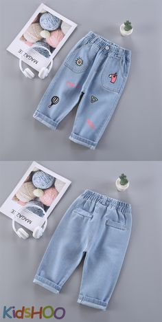 Five-pocket styling, straight legs, soft denim fabric, very suitable for all seasons. Comfortable around waist with elastic adjustable waistband, easy to pull on and pull off. Boys Pants, Girls Jeans, Jeans Pants, Denim Jeans, Denim Fashion, Kids Fashion, Flare Jeans Outfit, Blue Jean Outfits, Print Jeans