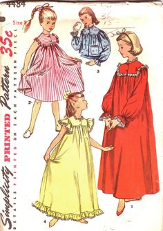 Girl's size 10 nightie sewing pattern night gown by ViennasGrace Sewing Patterns Girls, Clothing Patterns, Dress Patterns, Vintage Patterns, Pijama Satin, Vintage Outfits, Vintage Fashion, Make Your Own Clothes, Cute Kids Fashion