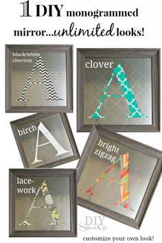GREAT DIY GIFT IDEA! One decorative accent - UNLIMITED LOOKS: DIY Interchangeable/Custom Monogrammed Mirror Tutorial