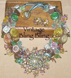 vintage bling bling by christen brown necklace galleries, artist jewelri, bead, christen brown, button lover, collages, button button, bling bling, button jewelri