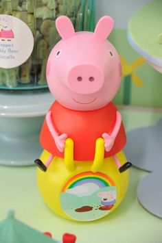 Fun decor at a Peppa Pig party!  See more party ideas at CatchMyParty.com!  #partyideas #peppapig