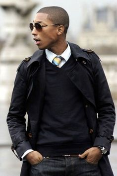 Men S Style, Gentlemen, Men S Fashion, Black Trench, Pharell Williams, Mensfashion, Pharrell Williams