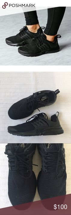 Women's Nike Air Presto Triple Black Sneakers Women's Nike Air Presto Triple Black Sneakers is inspired by the comfort and minimalism of a classic T-shirt for a lightweight everyday comfort. Style/Color: 878068-003 • Women's size 10 • NEW in box (no lid) • No trades •100% authentic Nike Shoes Sneakers