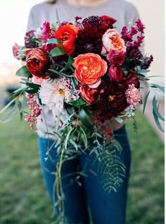 Hottest 7 Spring Wedding Flowers to Rock Your Big Day---Burgundy, orange, and pink bridal bouquet DIY wedding flowers, bridal bouquet, wedding bouquet, romantic florals,