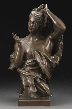 Marie Mortemart, a French bronze of a beauty undressing. Pottery Sculpture, Bronze Sculpture, Art Nouveau, Art Deco, Victorian Art, Dark Brown, Modern Art, Base, Statue