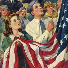 Raising Old Glory by Norman Rockwell (American) oil on canvas, illustration for American Legion Magazine, genre: Realism, Americana Norman Rockwell Art, Norman Rockwell Paintings, American Pride, American Flag, American History, American Party, American Quotes, I Love America, God Bless America