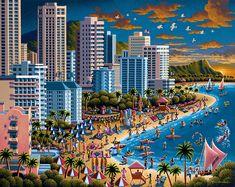 Lionheart Designs International - Waikiki Beach Honolulu Hawaii Eric Dowdle 500 piece Jigsaw Puzzle box
