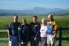 The Bazany's celebrated the ninth person in four generations of the family to be admitted to U-M with a visit to Glacier National Park in Montana. From left to right: Mike, JD'89, and Margie, JD'89; 2015 freshman Jim; and Betsy, '62, and Mike, '62. Not pictured: Eugene Lattin, JD'47, and Louise Woodward Seibold, '32.