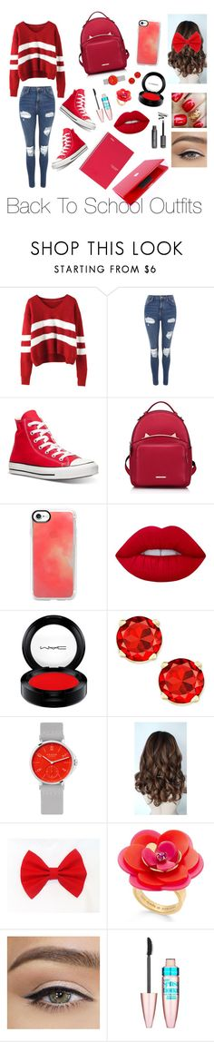 """""""Back To School Outfits-Red #28"""" by gussied-up on Polyvore featuring Topshop, Converse, WithChic, Casetify, Lime Crime, MAC Cosmetics, Nomos, Kate Spade, Maybelline and Ferrari"""